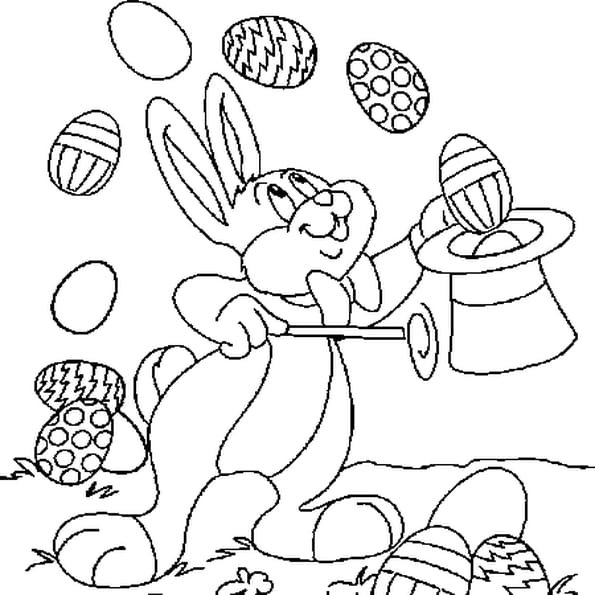 lapin paques coloriage