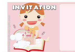 Carte invitation anniversaire fille rose