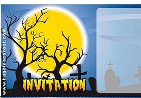 Carte invitation Halloween arbres morts