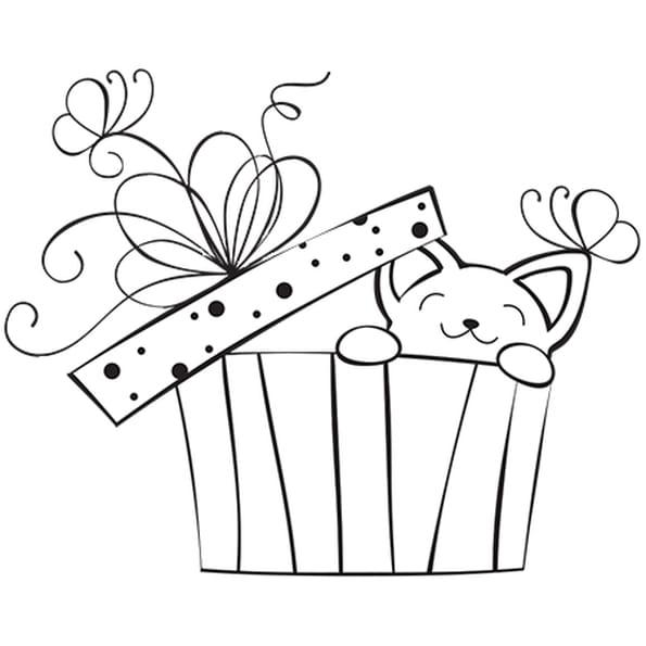 Coloriage cadeau de no l et petit chat en ligne gratuit - Dessin de cadeau ...