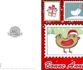 Carte timbre oiseaux