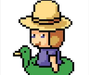 Fillette avec une bouée canard verte en pixel art