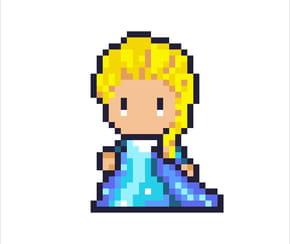 Elsa la Reine des Neiges en pixel art
