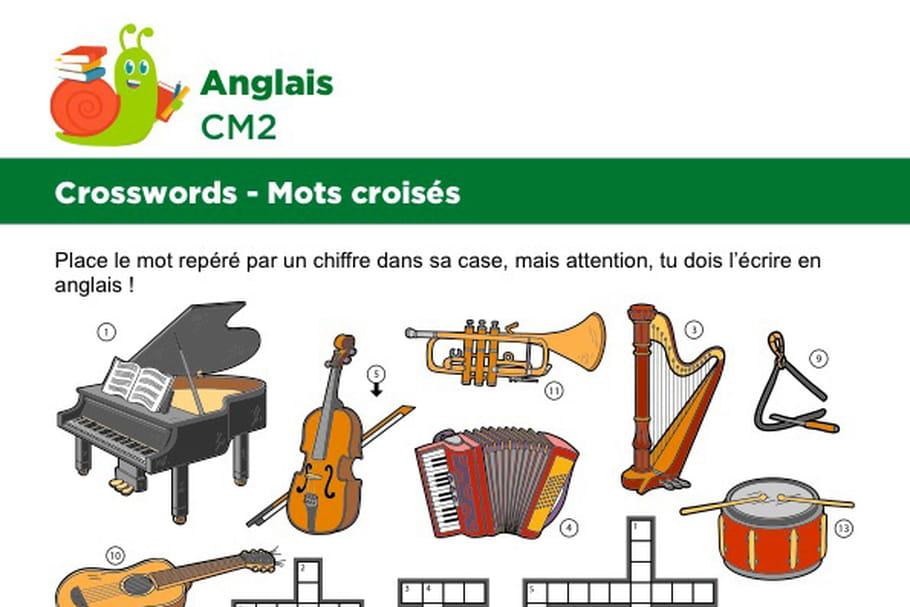 Mots croisés en Anglais sur le thème des instruments de musique