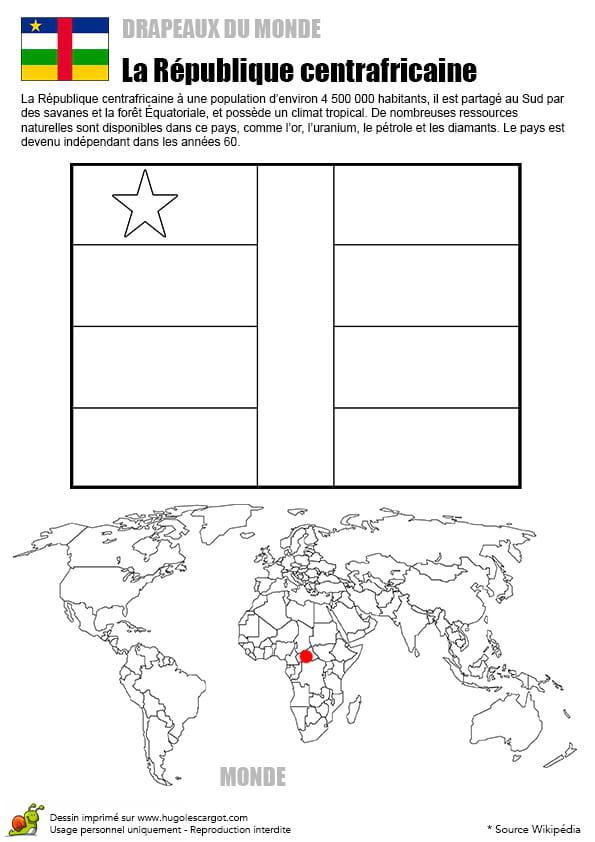 Coloriage monde drapeau République centrafricaine