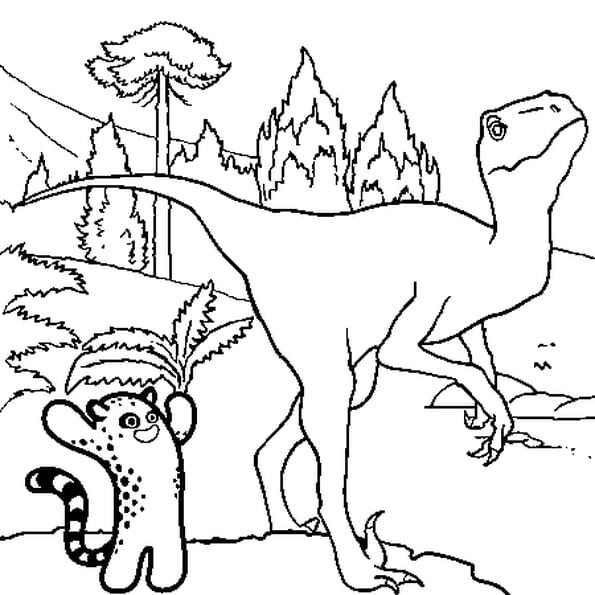 Coloriage Dinosaure dans la forêt en Ligne Gratuit à imprimer