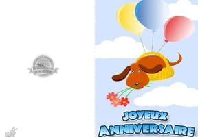 Carte anniversaire petit chien et ballons