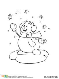 Bonhomme de neige et flocons