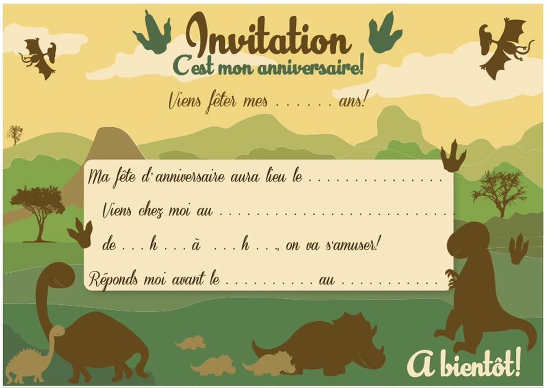 Carte Dinvitation Danniversaire Thème Des Dinosaures