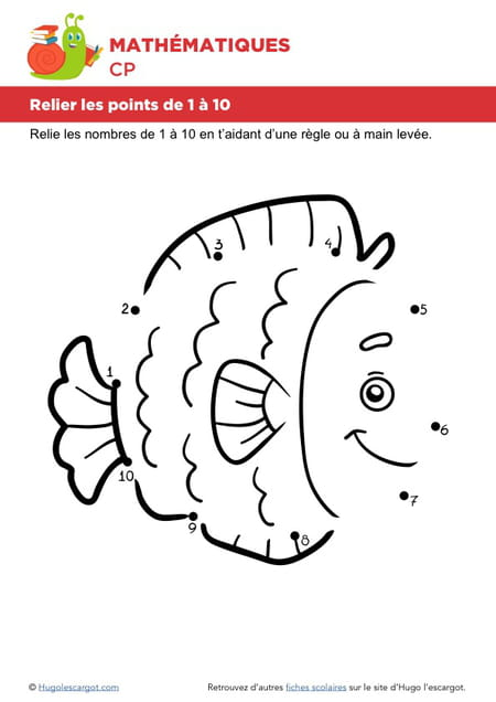 relier les points de 1 10 un poisson - Relier Les Points