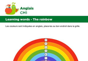 Apprendre des mots en Anglais, les couleurs de l'arc-en-ciel