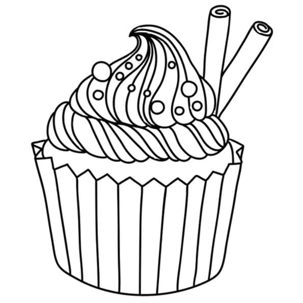 Dessin Cupcake vanille cannelle a colorier