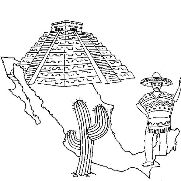 Dessin Mexique a colorier