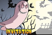 Carte invitation Halloween méchant fantôme