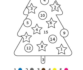 Coloriage magique CP: un sapin de Noël