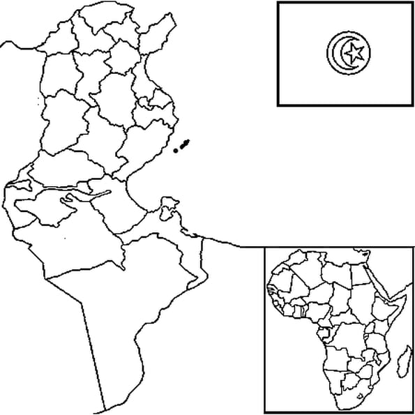 Coloriage carte Tunisie en Ligne Gratuit à imprimer