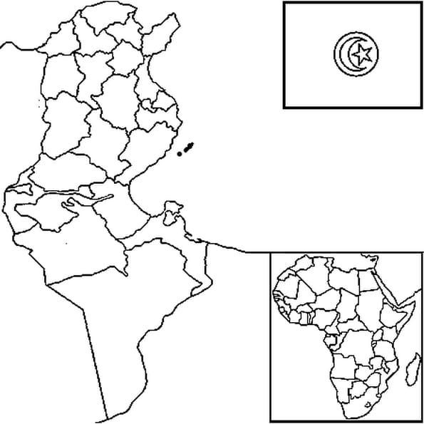 Dessin carte Tunisie a colorier