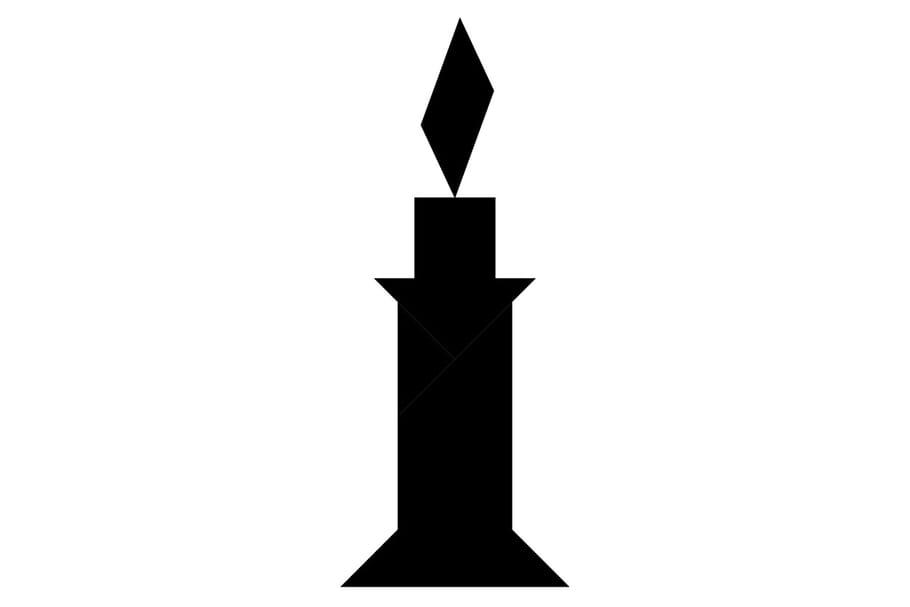 Le tangram niveau difficile, une bougie