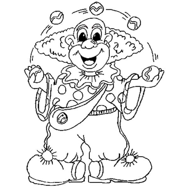 Dessin Clown Jongleur a colorier