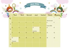 Les licornes: calendrier2021