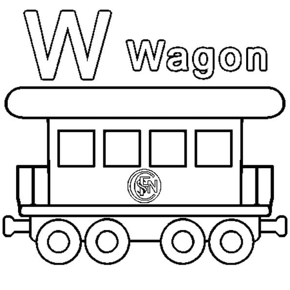 Dessin W comme Wagon a colorier