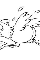 Coloriage La poule qui se sauve