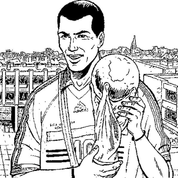 Coloriage de zidane en ligne gratuit imprimer - Footballeur a colorier ...