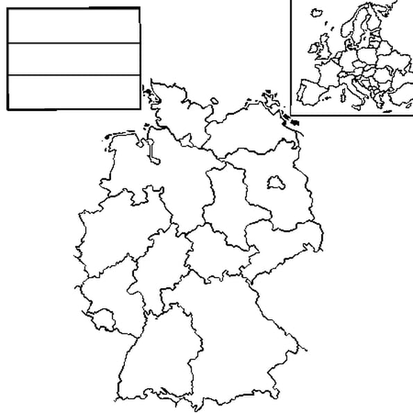 Coloriage carte Allemagne en Ligne Gratuit à imprimer