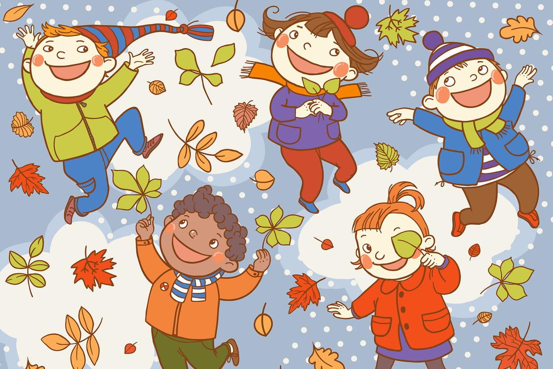 Coloriage jeux dans les feuilles d automne sur - Jeux hugo l escargot 2 ...