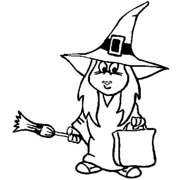 Coloriage sorcière Halloween en Ligne Gratuit à imprimer