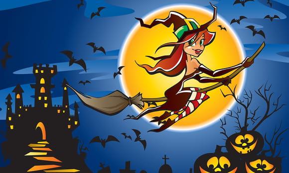 Coloriage les sorcières d'Halloween