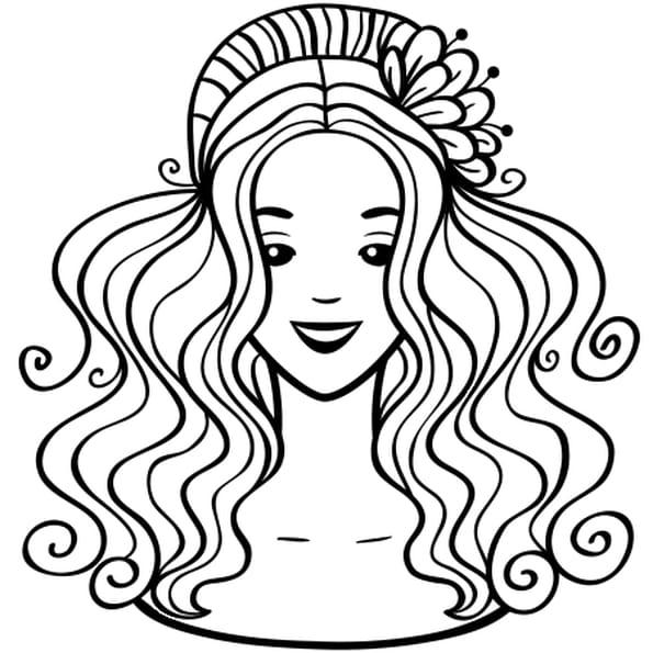 Coloriage Visage princesse en Ligne Gratuit à imprimer