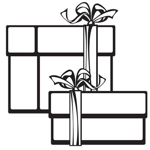 Coloriage Cadeaux de Noël rouge et vert en Ligne Gratuit à imprimer