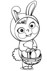 Coloriage Costume lapin de Pâques en Ligne Gratuit à imprimer