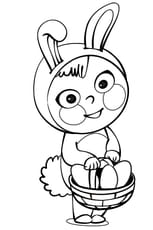 Coloriage Costume lapin de Pâques