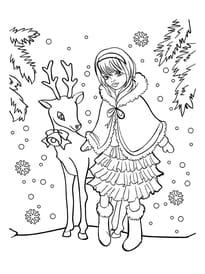 La fillette et le renne de Noël