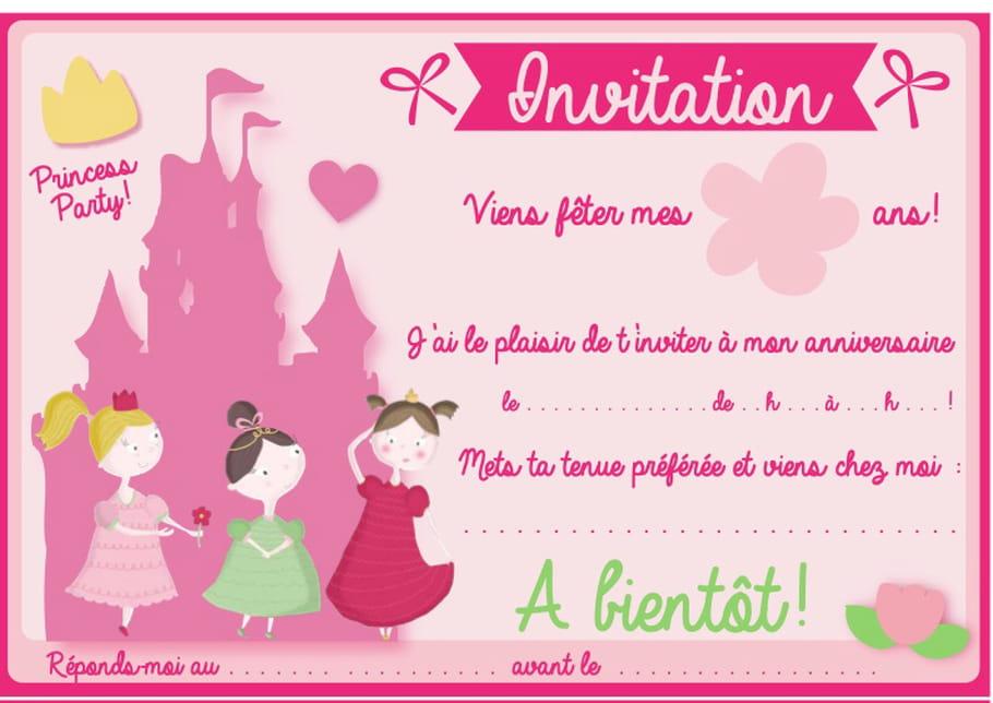 Carte d'invitation d'anniversaire thème princesses