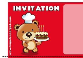Carte invitation anniversaire nounours et son gâteau