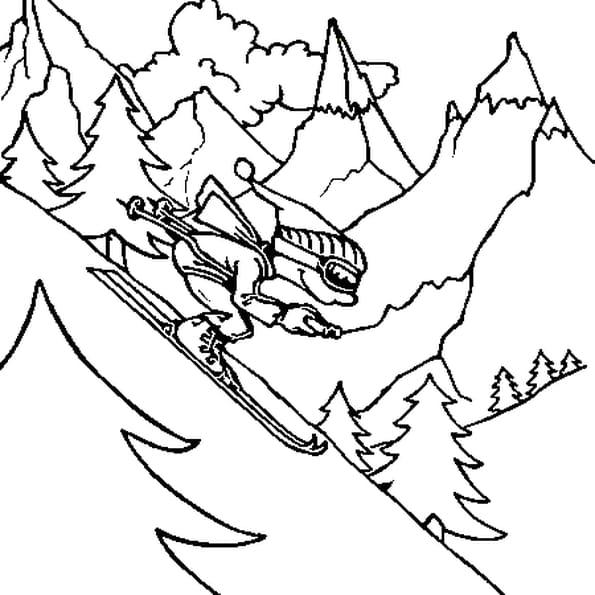 Coloriage De Ski Freestyle en Ligne Gratuit à imprimer