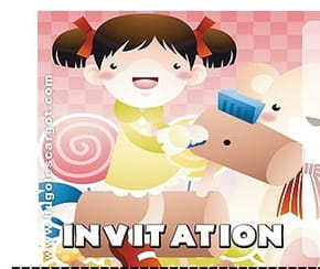 Carte invitation anniversaire petite fille sur un cheval