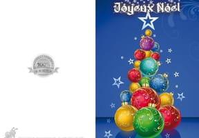 Carte sapin boules de Noël