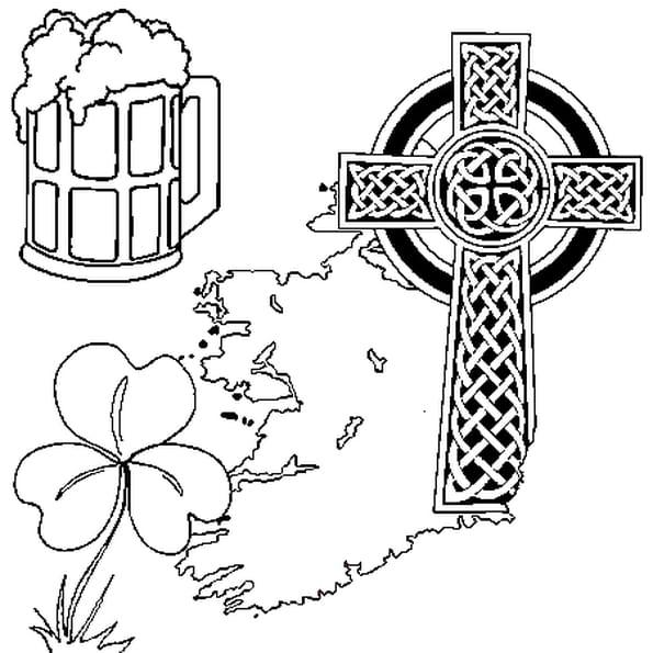 Dessin Irlande a colorier
