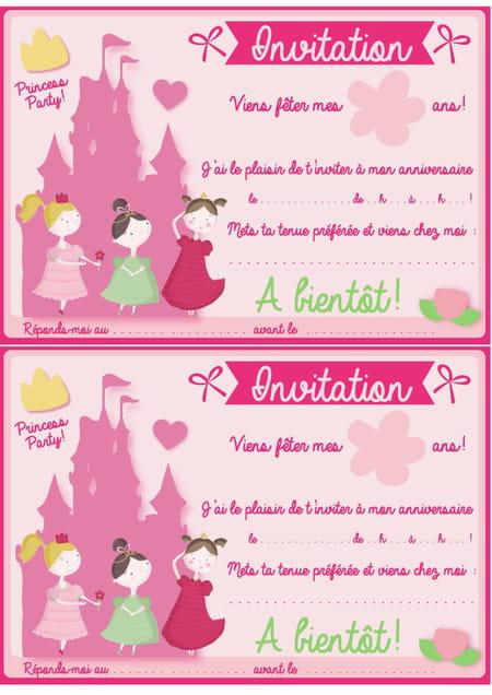 Carte D Invitation D Anniversaire Theme Princesses