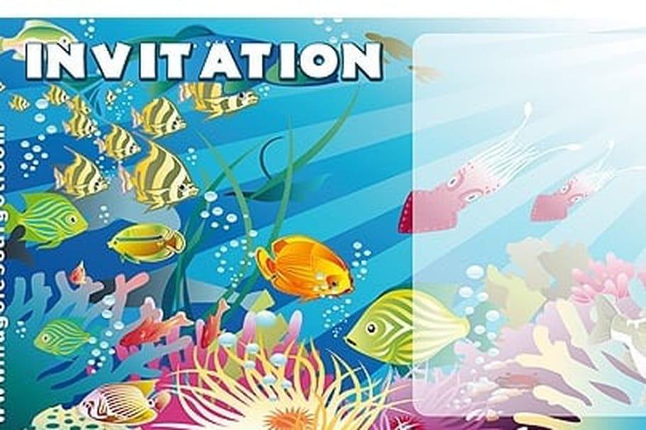 Nouveau Carte invitation anniversaire poissons colorés OZ83