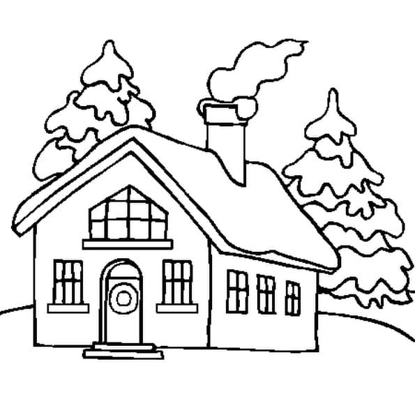 Coloriage image neige en ligne gratuit imprimer for Toit de maison dessin
