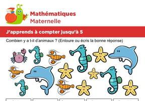 Mathématiques fiche 6, j'apprends à compter jusqu'à 5