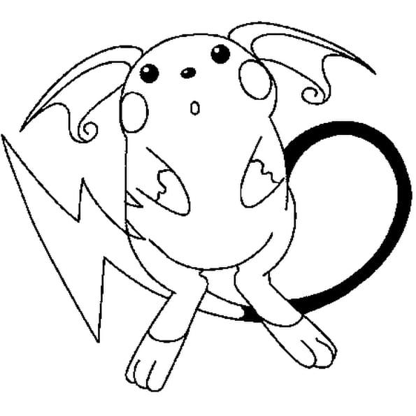 Dessin Pokémon raichu a colorier