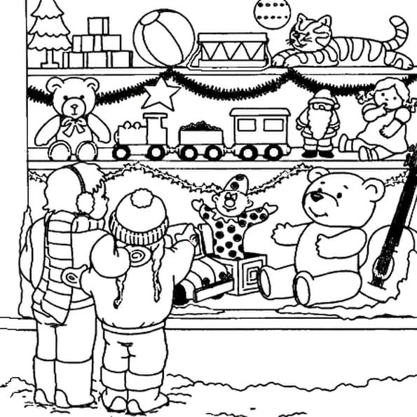 Dessin marché de noël a colorier