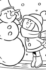 Coloriage Bonhomme de neige rigolo