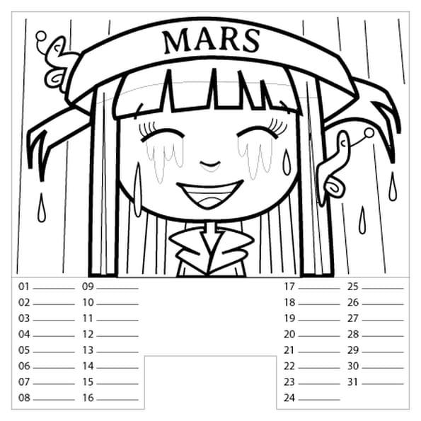 Coloriage Calendrier Mars en Ligne Gratuit à imprimer